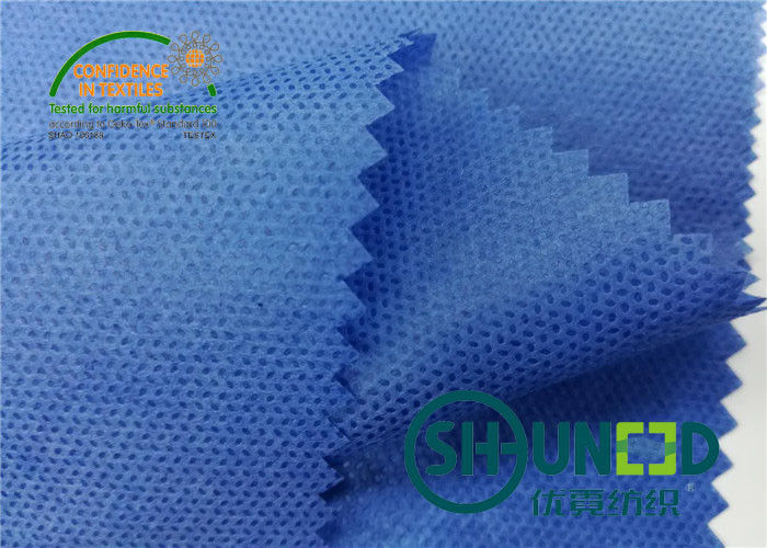 Blue PP Spunbond Non Woven Fabric 35gsm / Soft Non Woven Polypropylene Roll For Garment