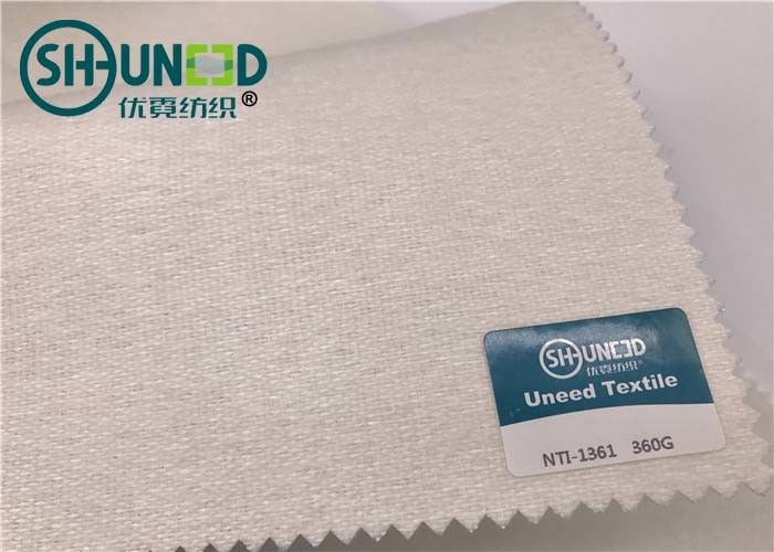 Soft 100% Polyester Plain Weave Tie Interlining Fabric Heavy Weight For Necktie