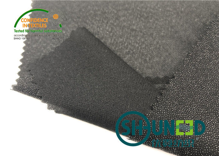 Lightweight Twill Woven Lining Water Jet Polyester Interfacing Black Color