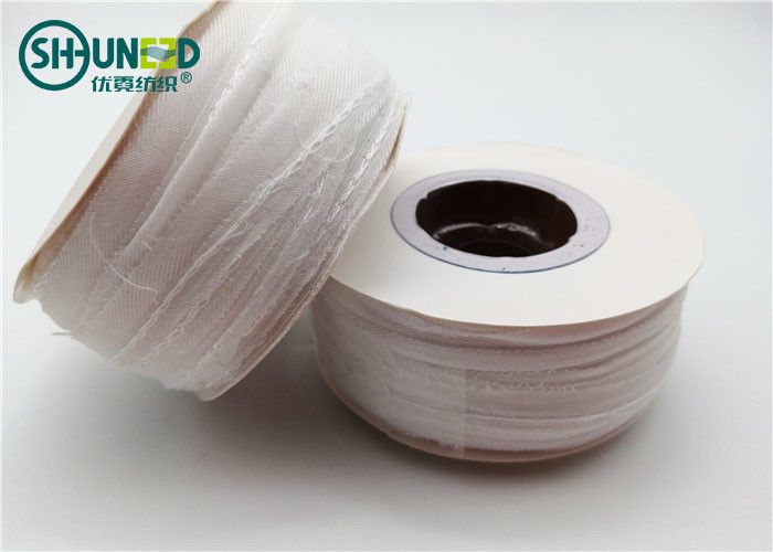 Eco - Friendly Woven Interlining Woven Edge Covered Tapes For Garment Shirts / Suits