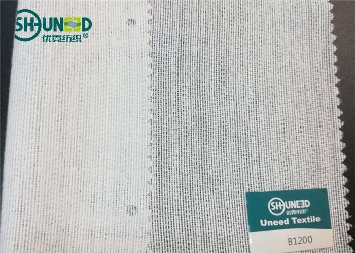 White Brushed Woven Interlining With PA High Bonding Strength For Overcoat